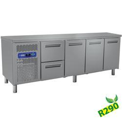 MR4/R2+MC1/2-TP - Koelwerkbank met laden en 3 deuren , geventileerd, GN 1/1 (550 Lit.) DIAMOND