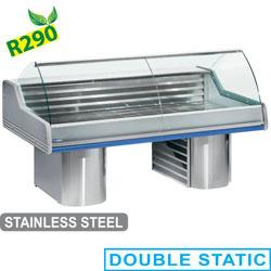 SG30B/C1-R2 - Gekoelde vitrine toonbank met gebogen ruit, op sokkels mm (BxDxH) : 3000x1195xh1175 DIAMOND