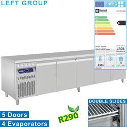 DT274/R2GX - Geventileerde koelwerkbank, 5 deuren GN 1/1, 700 Lit. groep aan linkerkant DIAMOND
