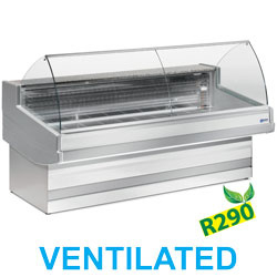 EB25/A3-VV/R2 - Geventileerde gekoelde vitrinetoonbank, geboge frontglas, zonder reserve mm (BxDxH) : 2500x1040xh1200 DIAMOND