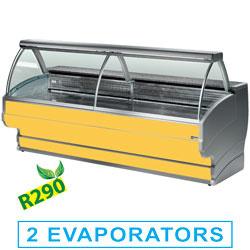 TO15/C1-R2 - Gekoelde vitrinetoonbanken met gebogen ruiten, met reserve DIAMOND