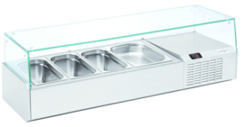 L9/1320 - OPZETKOELING GN1/3 GLAS - 3 X GN1/3 + 1 X GN1/2 Artikelnummer: L9/1320 TOPCOLD
