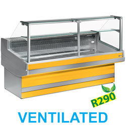 EB30/C1-VV/R2 - Geventileerde gekoelde vitrinetoonbank- recht frontglas 90° zonder reserv DIAMONDe