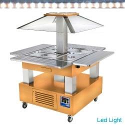CSB/4D-D1 - Eiland Buffet - Salade bar, gekoeld, 4x GN 1/1-150 (Licht eiken hout) DIAMOND HORECA