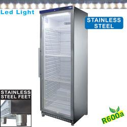 PV400X/G-R6 - Koelkast geventileerd, glazen deur, 400 liter. R.V.S. DIAMOND JUMBO LINE
