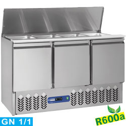 SAL3M/R6 - Gekoelde saladette met deksel 4x GN 1/1 - 150 mm + reserve 3 deuren GN 1/1, 380 Lit DIAMOND