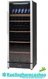 477800155 - Wijnklimaatkast flessen 155 bedrijfsklaar vrijstaand of in te bouwen , zwart, uitrusting met glazen deur NORDCAP W155