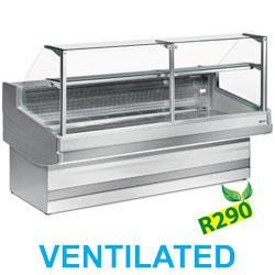 EB30/A1-VV/R2 - Geventileerde gekoelde vitrinetoonbank, recht frontglas 90°, zonder reserve Diamond