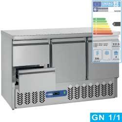 SA3/GD+GC1/2/D - Koelwerkbank 2 deuren en 2 lade GN 1/1 DIAMOND