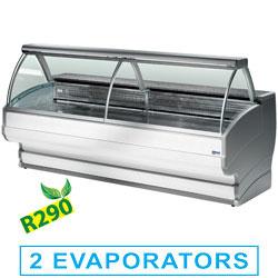 TO20/A1-R2 - Gekoelde vitrinetoonbanken met gebogen ruiten, met reserve mm (BxDxH) : 2000x1080xh1265 DIAMOND