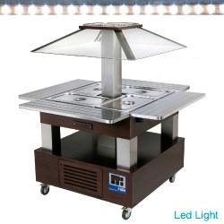 CSB/4D-B1 - Eiland Buffet - Salade bar, gekoeld, 4x GN 1/1-150 (Wengé hout) DIAMOND HORECA