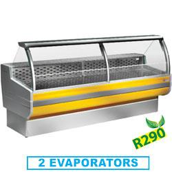 CR104/C1-R2 - Gekoelde vitrinetoonbank met gebogen ruiten, met reserve mm (BxDxH) : 1040x895xh1270 DIAMOND