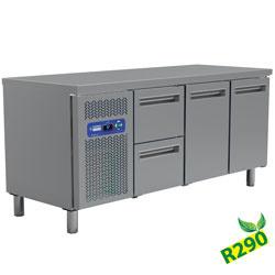 MR3/R2+MC1/2-TP - Koelwerkbank met 2 laden en 3 deuren , geventileerd, GN 1/1(405 Lit.) DIAMOND