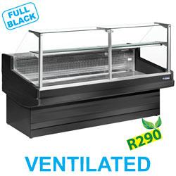 EB30/B5-VV/R2 Geventileerde gekoelde vitrinetoonbank- recht frontglas 90° zonder reserve