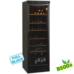 WINE-GL38/R6 - Geventileerde wijnkast vitrine, 380 liter, ZWART DIAMOND