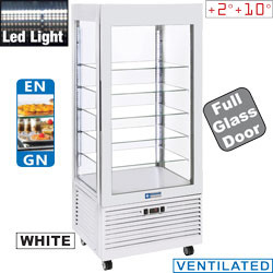 INN/VN-W5 - Vitrine 4 zijden T° positief, 5 niveaus in glas, geventileerd, 480 Lit., WIT - Panoramic Line PLUS