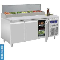 026DTS-7/R2 -  Koelwerktafel geventileerd, 3 deuren GN 1/1, 405 Liter met ingebouwde saladette DIAMOND