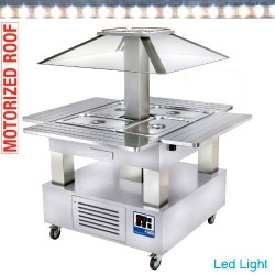 CSB/4D-A1+KM - Eiland Buffet - Salad bar, gekoeld, gemotoriseerde koepel, 4x GN 1/1-150 (wit hout) DIAMOND HORECA
