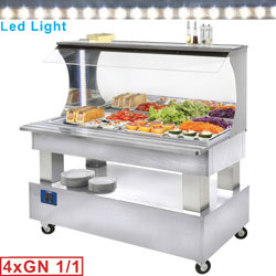 ASB/4N-A1 - Buffet - gekoelde wand-salad bar, 4x GN 1/1-150 (wit hout) mm (BxDxH) : 1495x690(855)xh1405 DIAMOND