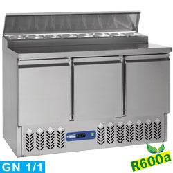 SALP3/R6 - Gekoelde voorbereidingstafel 3 deuren GN 1/1, 340 Lit + koelstructuur 8x GN1/6-150 mm DIAMOND