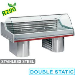 SG20B/C1-R2 - Gekoelde vitrine toonbank met gebogen ruit, op sokkels mm (BxDxH) : 2000x1195xh1175 DIAMOND