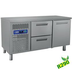 BMIV15/R2+BC1/2-TP - Koelwerkbank met twee lade´s en een deur 1500x600xh880/900 DIAMOND