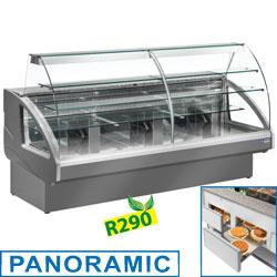 UT14/G5-R2  -Gekoelde vitrinetoonbank, statisch, ladensysteem, zonder reser   ve - GRIJS mm (BxDxH) : 1400x980xh1237   -DIAMOND