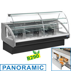 UT14/C4-R2 Gekoelde vitrinetoonbank, statisch, ladensysteem, zonder reservmm (BxDxH) : 1400x980xh1237              e - GRIJS/ZWART DIAMOND
