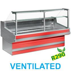 EB20/B1-VV/R2 - Geventileerde gekoelde vitrinetoonbank- recht frontglas 90° zonder reserve DIAMOND