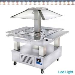 CSB/4D-A1 - Eiland Buffet - Salade bar, gekoeld, 4x GN 1/1-150 (wit hout) DIAMOND HORECA