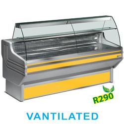 JY20/C1-VV/R2 - Gekoelde vitrinetoonbank gebogen ruit, geventileerd, met reserve DIAMOND