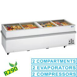 VT250E/N-R2 Panoramische diepvriezer 2 compressoren, 2 temperaturen Diamond
