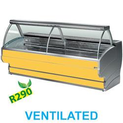 TO15/C1-VV/R2 - Gekoelde vitrinetoonbank gebogen ruit, geventileerd, met reserve mm (BxDxH) : 1500x1080xh1265 DIAMOND
