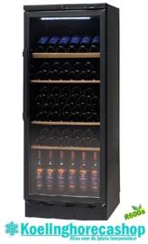 477210511 - Wijnopslagkast 89 flessen bedrijfsklaar vrijstaande versie zwart, uitrusting met glazen deur NORDCAP VKG 511 LED