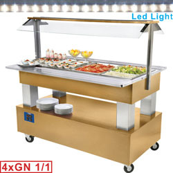 BSB/4N-D1 - Buffet - Salad bar, gekoeld, 4x GN 1/1-150 (Licht eiken hout) mm (BxDxH) : 1440x660(950)xh1370 DIAMOND