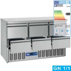 SA3/GD+3XGC1/2/D - Koelwerkbank met 6 lade GN 1/1 DIAMOND
