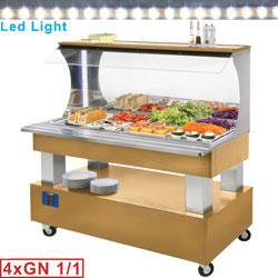 ASB/4N-D1 - Buffet - Wandsalad bar, gekoeld, 4x GN 1/1-150 (Licht eiken hout) DIAMOND