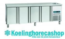 EURO SN E|4 - EURO LINE 60 Geventileerde koelwerkbank 4 deuren met spoelbak Afmetingen: (L) 2542 X (B) 600 X (H) 850 TOPCOLD