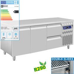 DT178/R2+1XCA1/2-PM - Geventileerde koelwerkbank met lade's en 2 deuren GN 1/1, 405 Lit. DIAMOND