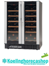 477800038 - Wijnklimaatkast, bedrijfsklaar 38 flessen vrijstaande- inbouwversie, zwart, met 2 glazen deuren NORDCAP W 38 COMPACT