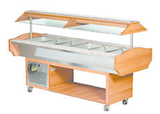 COLD C 218 - HOUTEN BUFFET 6 X GN1/1 - MANUELE CANOPY - L2180mmTOPCOLD
