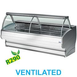 TO20/A1-VV/R2 - Gekoelde vitrinetoonbank gebogen ruit, geventileerd, met reserve mm (BxDxH) : 2000x1080xh1265 DIAMOND