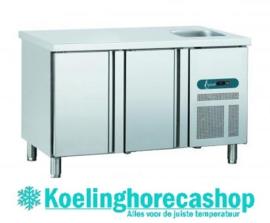 EURO GNE/2 - EURO LINE 70 Geventileerde koelwerkbank met 2 deuren en spoelbak Afmetingen: (L) 1342 X (B) 700 X (H) 850 TOPCOLD