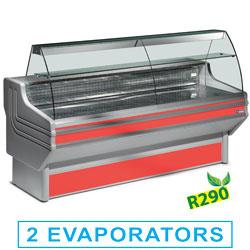 JY20/B1-R2 - Gekoelde vitrinetoonbank met gebogen ruit en reserve mm (BxDxH) : 2000x930xh1270 DIAMOND