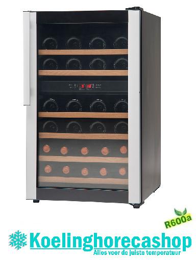 477800032 - Wijnkoel - wijnklimaatkast, bedrijfsklaar vrijstaande versie zwart, glazen deur, voor max. 32 flessen NORDCAP