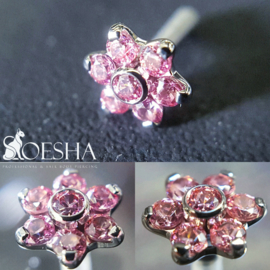 Titanium threaded flower with faceted gems Fancy Pink