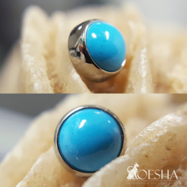 Titanium threaded cabochon gem end Turquoise