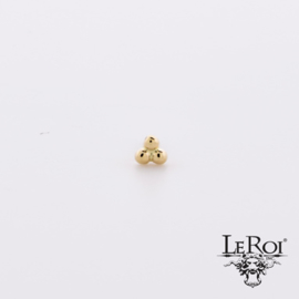 LeRoi Solid Gold Threaded 3 Bead Cluster
