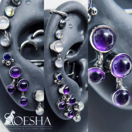 Anatometal Titanium threaded bezel set gem and dangle