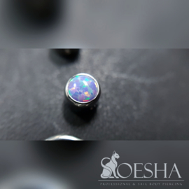 Titanium Captive Bezel Faux-pal Cabochon Gem Bead Light Lavender